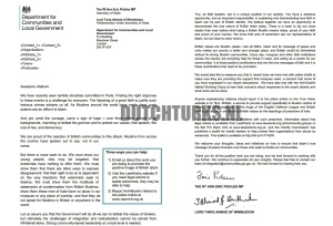 GB Department for Communities and Local Government letter