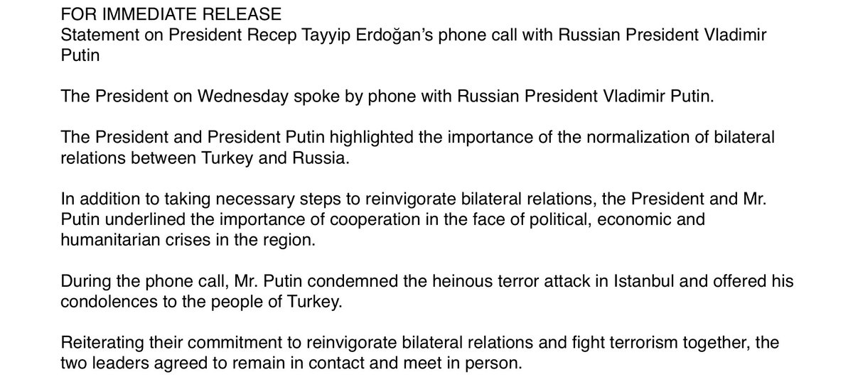 Press release Putin Erdogan