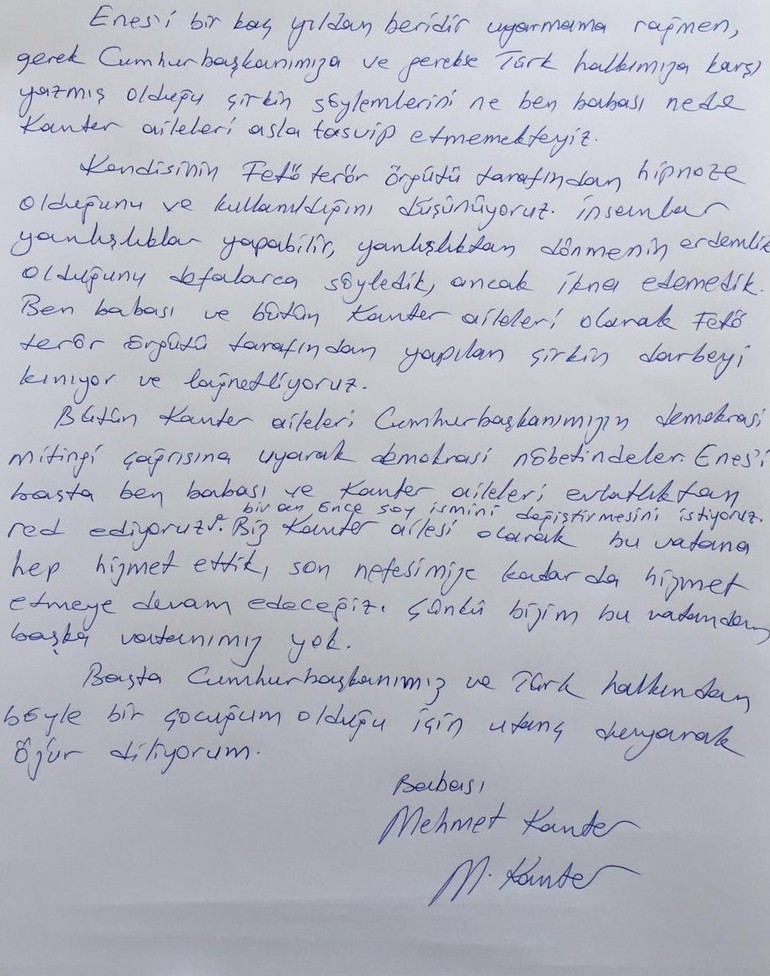 De brief van vader Kanter aan de zoon die hij heeft verstoten uit de familie.