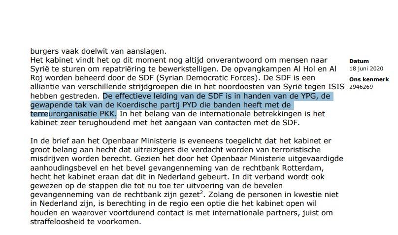 PKK-YPG Connectie In Kamerbrief Minister Grapperhaus