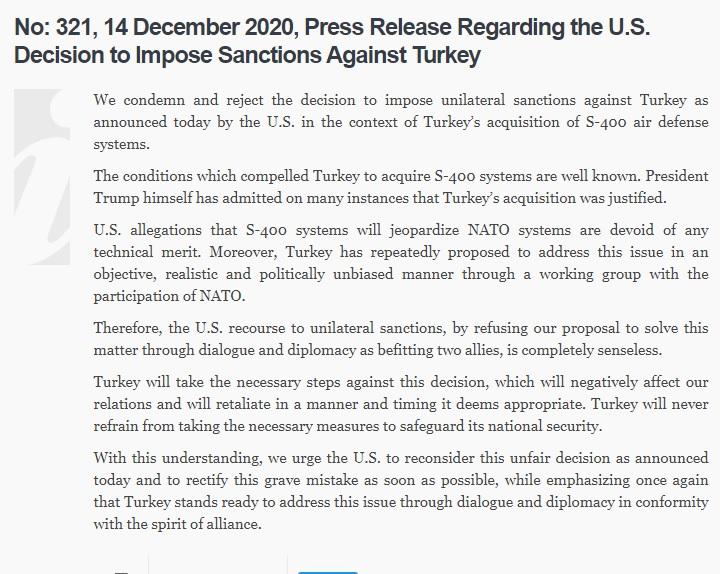 Verklaring Turkije naar aanleiding van de CAATSA sancties.